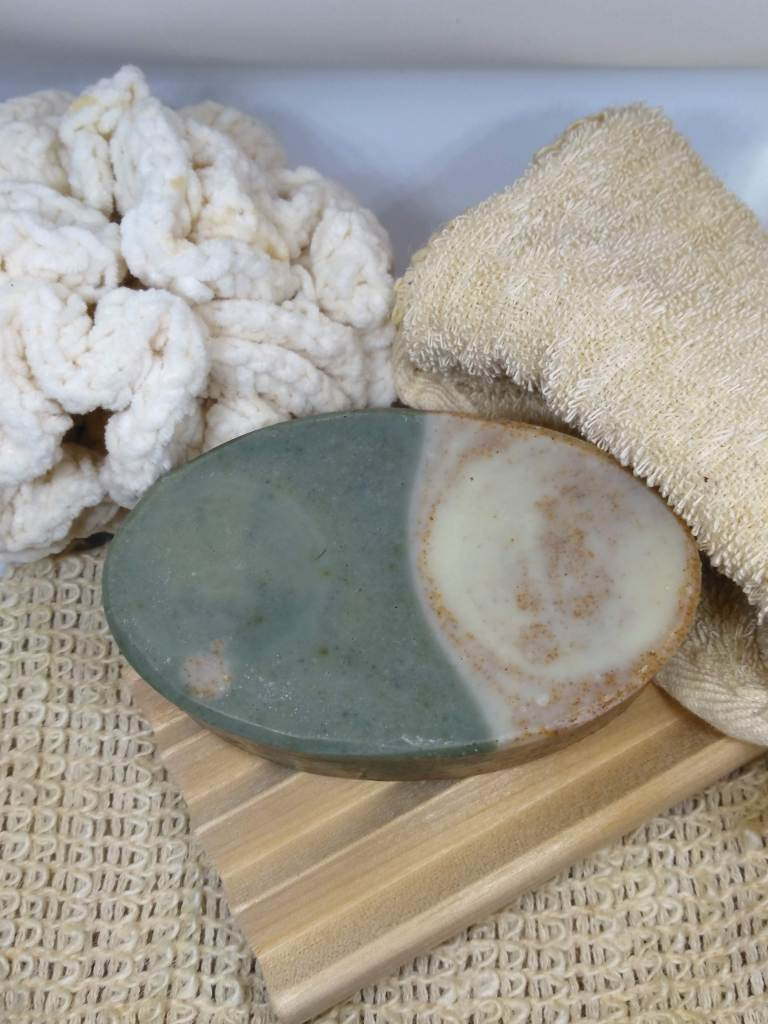 bar soap and natural fiber accessories